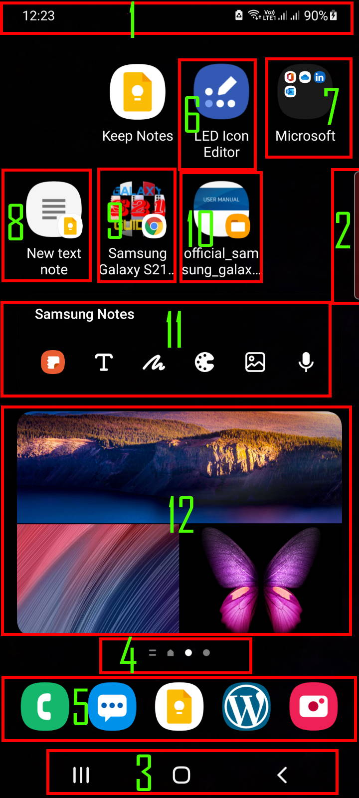 items on Galaxy S21 Home screen