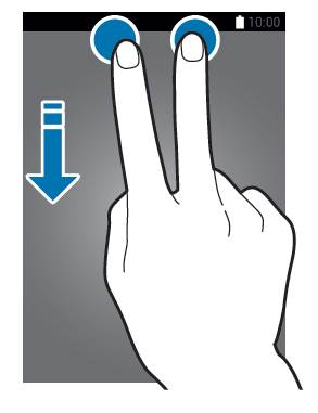 swipe down with two fingers to access Galaxy S21 quick settings panel