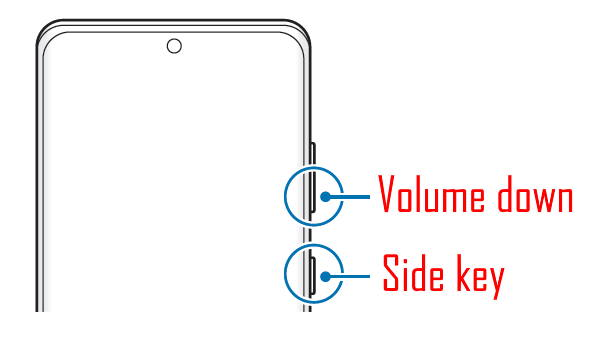 Hold the value down key + side key together for more than 7 seconds to reboot Galaxy S21