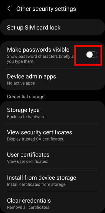 hide Galaxy S21 password and PIN