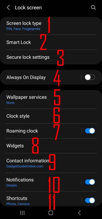 Galaxy S21 lock screen settings