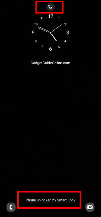 Galaxy S21 lock screen settings: unlocked by smart lock