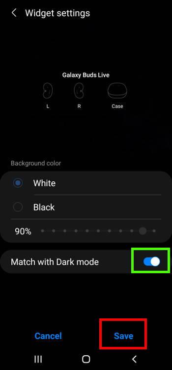 Galaxy buds live widgets on Galaxy S21 widgets screen