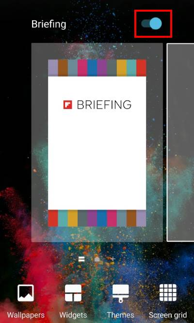 Disable Flipboard briefing on Galaxy S7 and Galaxy S7 edge , drag the switch to turn on/off