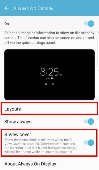New features for Galaxy S7 always-on display