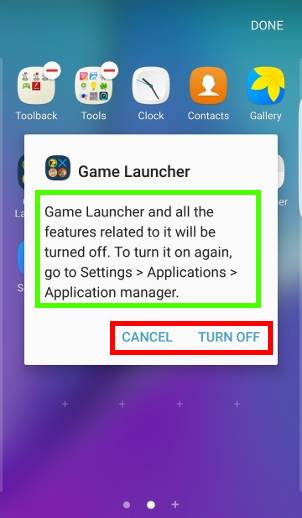 Samsung Galaxy S7 apps screen: disable apps