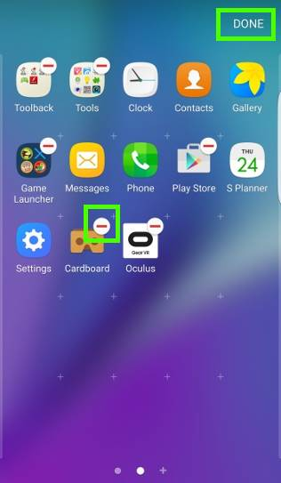 Samsung Galaxy S7 apps screen: edit mode