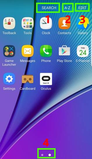 Samsung Galaxy S7 apps screen