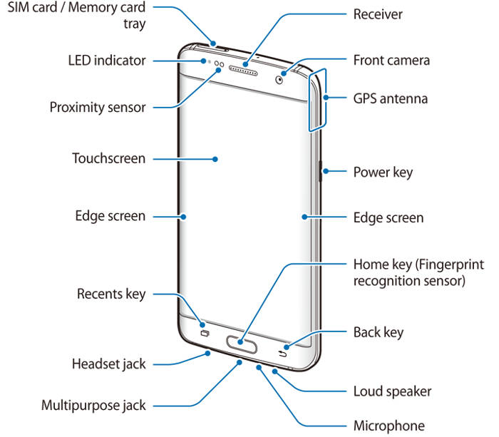 Front view of Galaxy S7 layout and Galaxy S7 edge layout