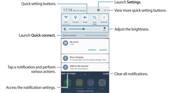Samsung Galaxy S7 notification panel for Galaxy S7 or S7 edge with single SIM card inside