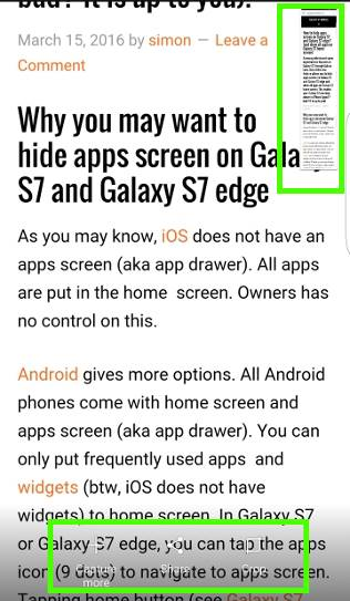 take screenshot on Galaxy S7 and Galaxy S7 edge and use Galaxy S7 scroll capture, continue to use scroll capture