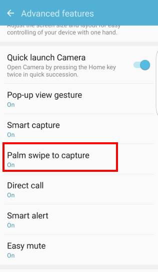 take screenshot on Galaxy S7 and Galaxy S7 edge without using any apps, settings--advanced features