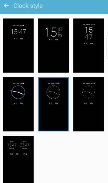 Galaxy S7 always-on display clock styles