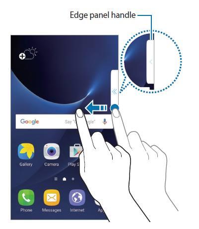 access edge screen on Galaxy S7 edge with edge handle