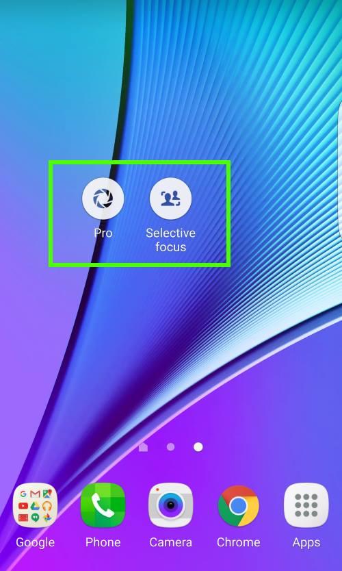 add Galaxy S7 camera mode shortcut to home screen