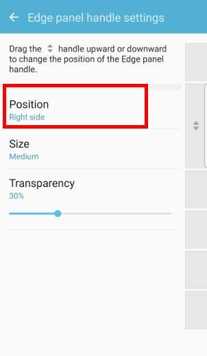 customize edge screen position and edge screen handle for edge screen on Galaxy S7 edge