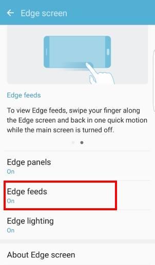 turn on/off edge feeds in edge screen on Galaxy S7 edge