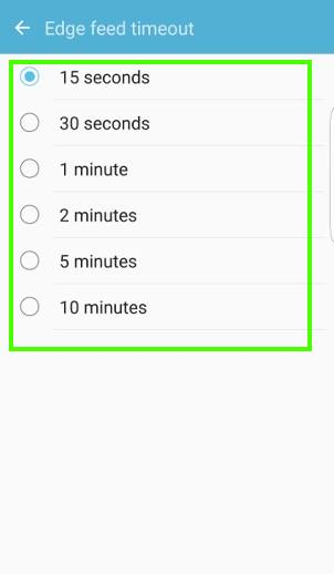 set timeout for edge feeds in edge screen on Galaxy S7 edge