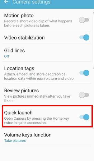 How to use Galaxy S7 camera quick launch to launch Galaxy S7 camera app?