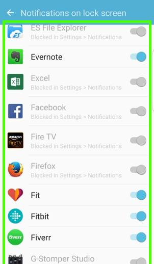 How to configure notifications on Galaxy S7 lock screen?