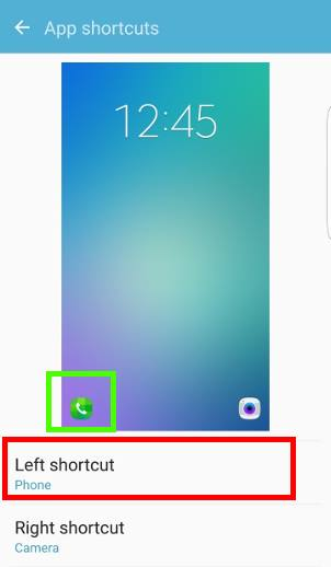How to customize app shortcuts in Galaxy S7 lock screen?