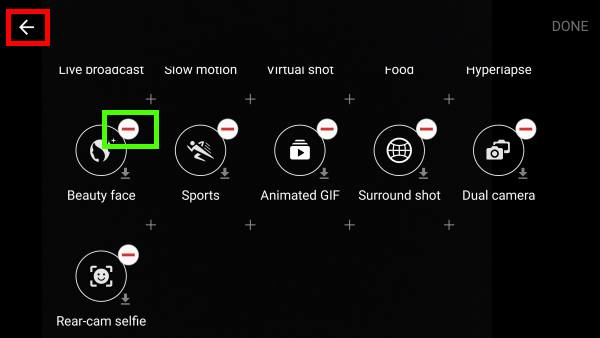 uninstall Galaxy S7 camera modes