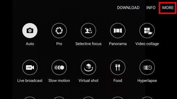 manage Galaxy S7 camera modes