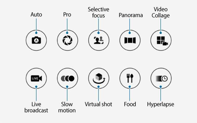 pre-installed Galaxy S7 camera modes