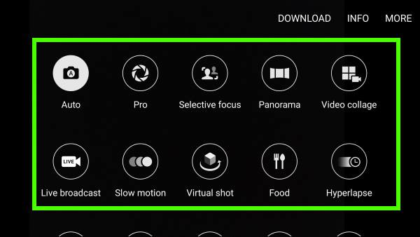 change and use Galaxy S7 camera modes