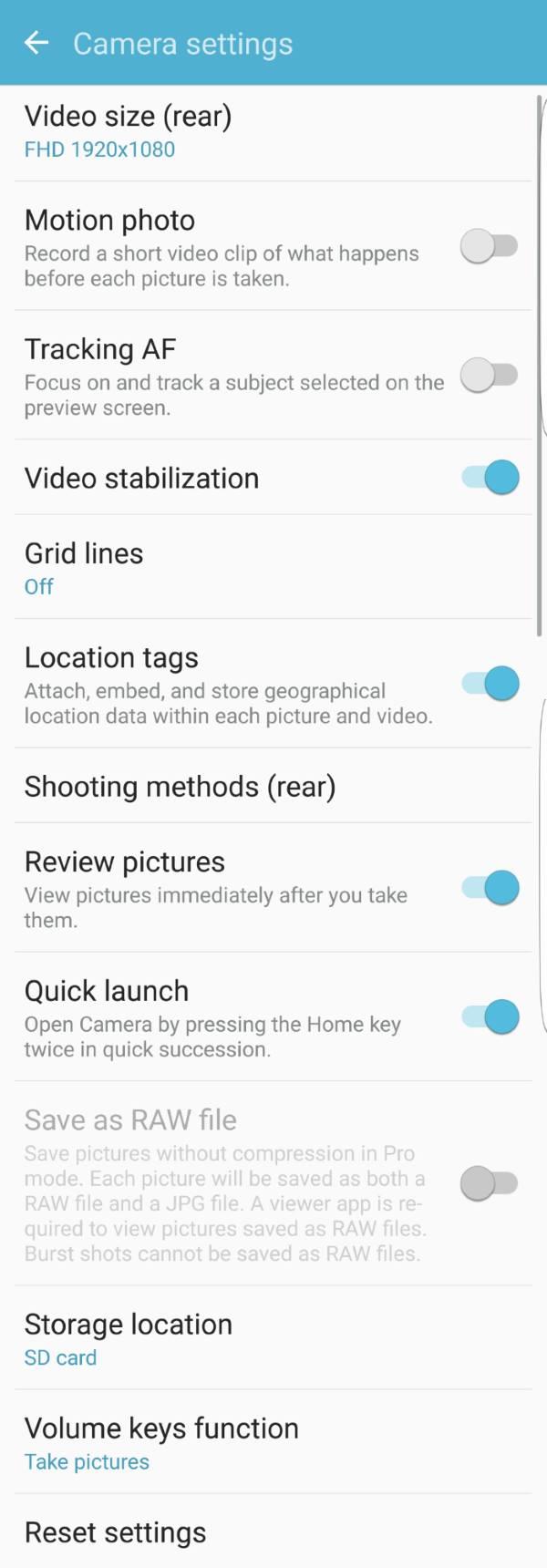 Samsung Galaxy S7 camera settings for rear camera