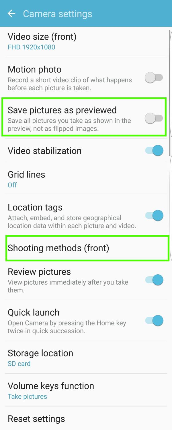 Samsung Galaxy S7 camera settings for front camera