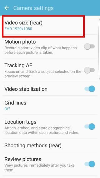 set Galaxy S7 camera picture size and video size on Galaxy S7 and Galaxy S7 edge: camera settings