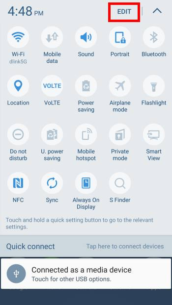 Use and manage quick setting buttons on Samsung Galaxy S7 and Galaxy S7 edge