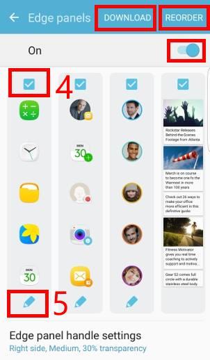 customize edge panels on Galaxy S7 edge