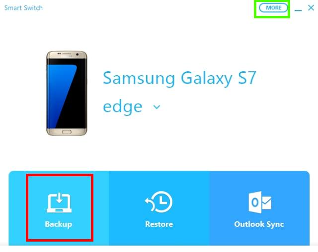 manually back up Galaxy S7 and Galaxy S7 edge with smart switch
