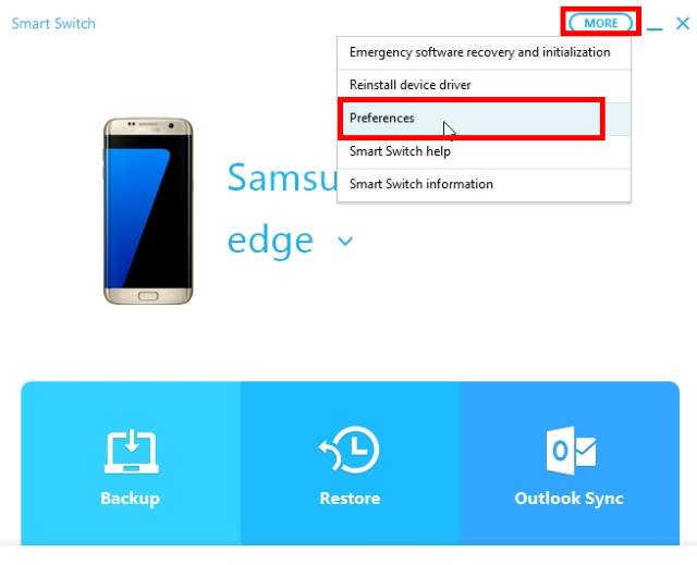 configure Smart Switch to back up Galaxy S7 and Galaxy S7 edge