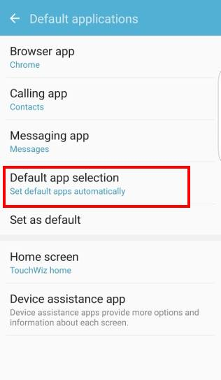 How to tun on Just Once and Always options when selecting Galaxy S7 default apps?