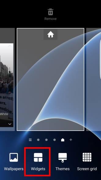 add widgets in Galaxy S7 and S7 edge