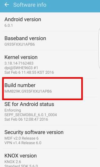 enable Galaxy S7 developer options