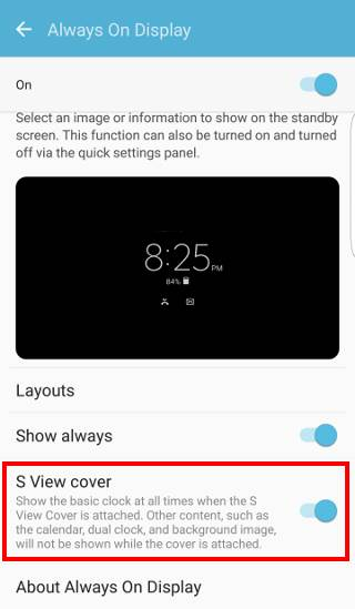 turn on Always on display (AOD) for Galaxy S7 S View cover