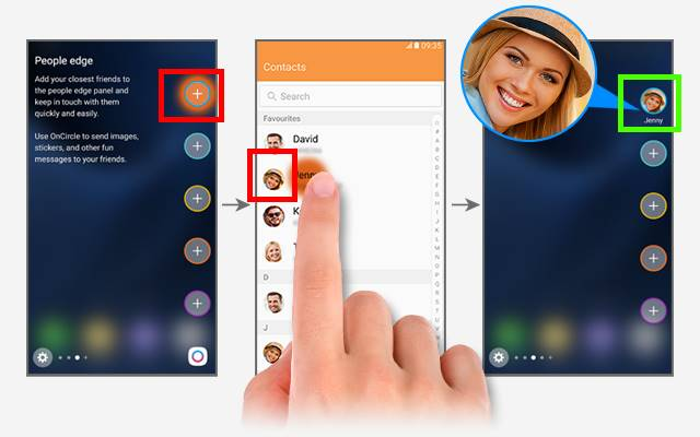 add contacts to People edge in edge screen of Galaxy S7 edge, Galaxy Note 7, Galaxy S6 edge and Galaxy S6 edge+