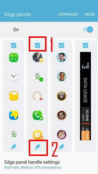 Two ways to manage tasks edge in edge screen of Galaxy S7 edge