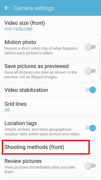 Different shooting methods to take selfie on Galaxy S7 and Galaxy S7 edge