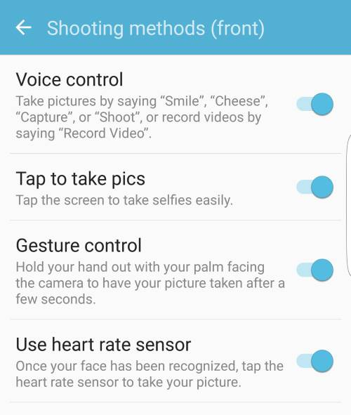 use different shooting methods to take selfie on Galaxy S7 and Galaxy S7 edge