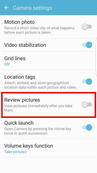 enable/disable review photos before saving in Galaxy S7 Settings