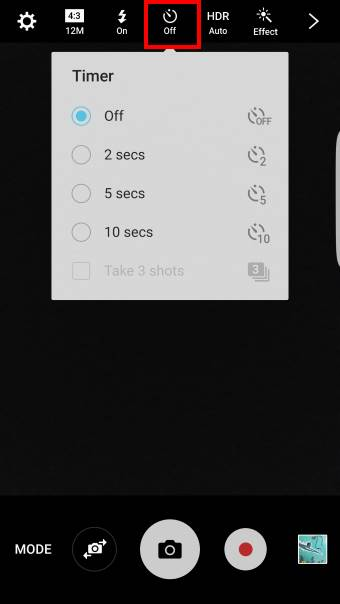 set camera timer in Samsung Galaxy S7 and Galaxy S7 edge