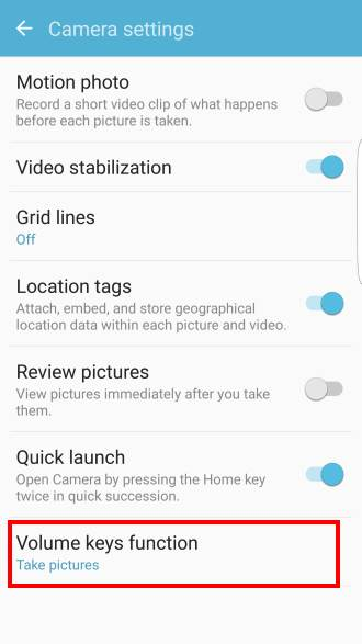set volume key to take photos in Galaxy S7 in Settings-- Applications