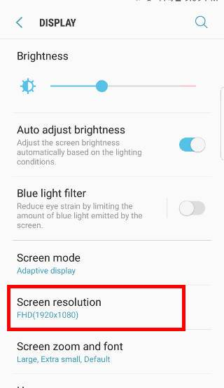 change screen resolution of Galaxy S7 and S7 after Android Nougat update