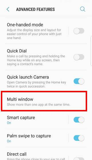 enable Galaxy S7 multi window pop-up view gesture and split screen view action gesture