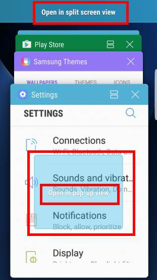 Galaxy S7 multi window pop-up view gesture and split screen view action